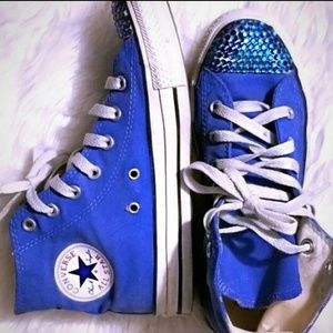 Converse All Stars High Tops Blue Rhinestones lace